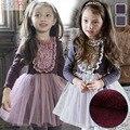 Clothes Girls Autumn Winter Dress 2016 Knee-length Casual Draped Floral Lace  Toddler Girls Dress Plus Velvet Princess dress