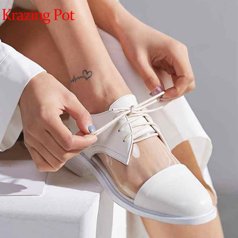 Krazing pot new genuine leather transparent lace up party wedding jelly shoes sweety round toe women thick low heels pumps L02