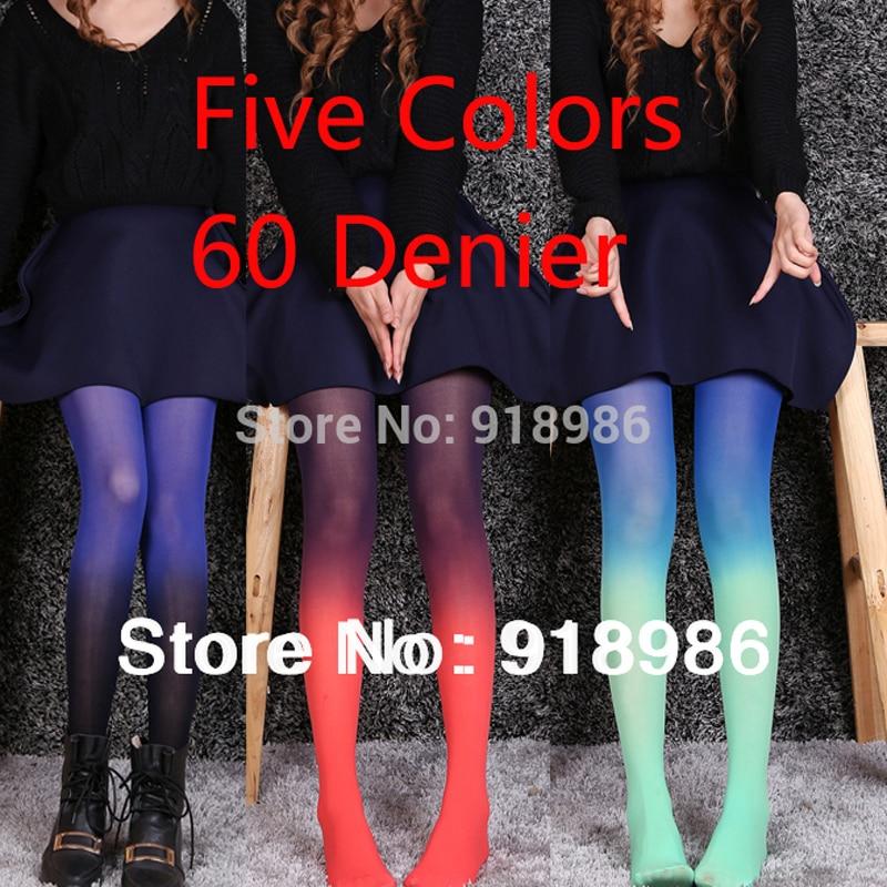 2017 New Fashion Womens Harajuku Colors Gradient Tattoo Tights 60 Denier Velvet Stockings Pantyhose Wholesale