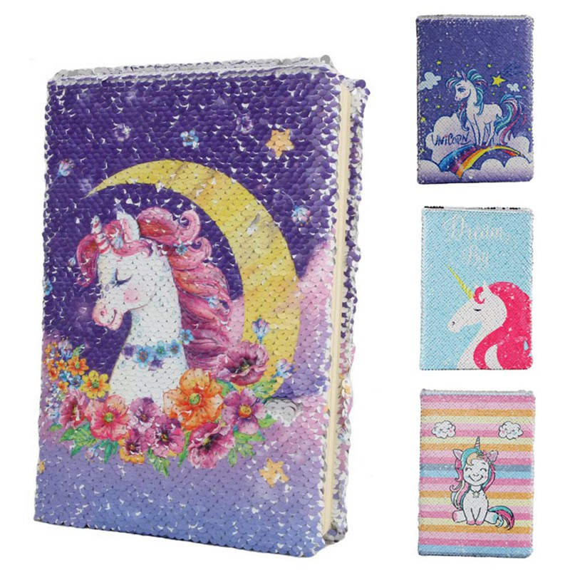 Cute Unicorn Reversible Sequin Notebook