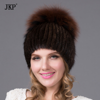 Foreign Trade In Europe And America In Winter Mink Fur Hat On Wide Sew Side Flower