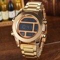 Мода Золото Digtal часы мужские Полная сталь Роскошные LED Часы Мужские Водонепроницаемый Сигнализация Часы Военные Спортивные Часы Relogio Masculino