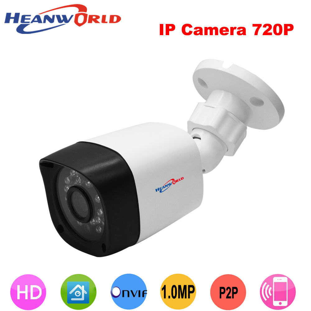 Heanworld 720p hd security camera 24 ir led night vision mini ip camera waterproof cctv camera outdoor support app and pc camera