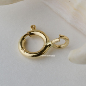 Solid 18k Karat Yellow Gold Spring Ring Clasp 5mm Au750 18ct Round Buckle for Necklace Jewelry Findings and Components(China)