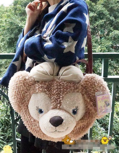 Shellie May Duffy Bear Face Plush Tote Bag Handbag Women Shoulder Bag Gift
