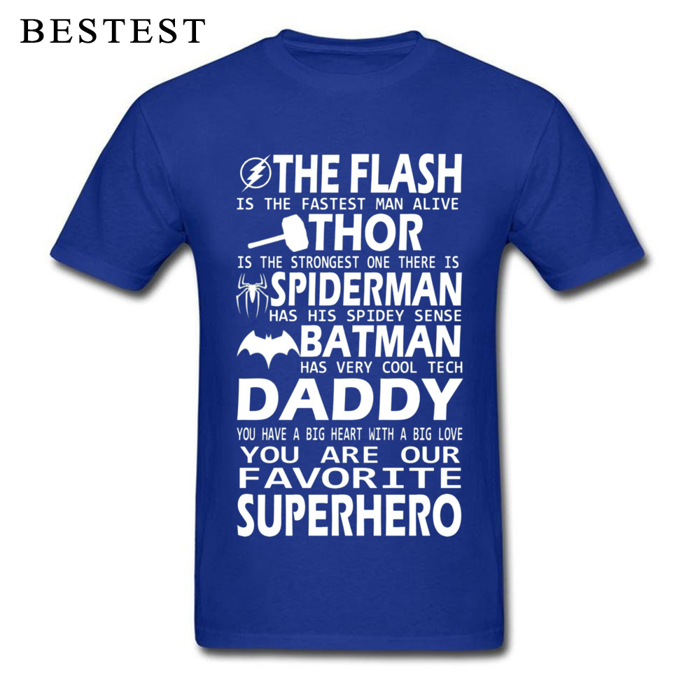 100% Cotton Men's Short Sleeve Daddy SuperHero 4279 Top T-shirts 3D Printed T Shirt Plain Cool Crew Neck Tees Wholesale Daddy SuperHero 4279 blue