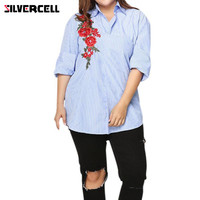 Fashion Women Rose Embroidery Blouse Long Sleeves Striped Shirt Original Design Striped Pearls Button Down Floral