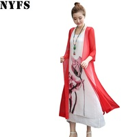 2017 New Summer Dress Ink Painting Women Dress Tow Piece Dress Casual Plus Size Loose Female