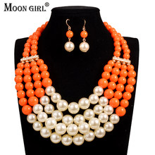 Simulated Pearl jewelry sets Moon Girl statement Necklace earrings for women Nigeria bridal wedding African beads jewelry set(China)