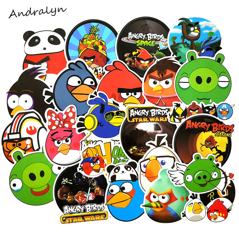 100Pcs/pack Angry Bird Stickers Puzzle Games For Stationery Luggage Motorcycle Guitar Laptop Skateboard Desk Anime Stickers