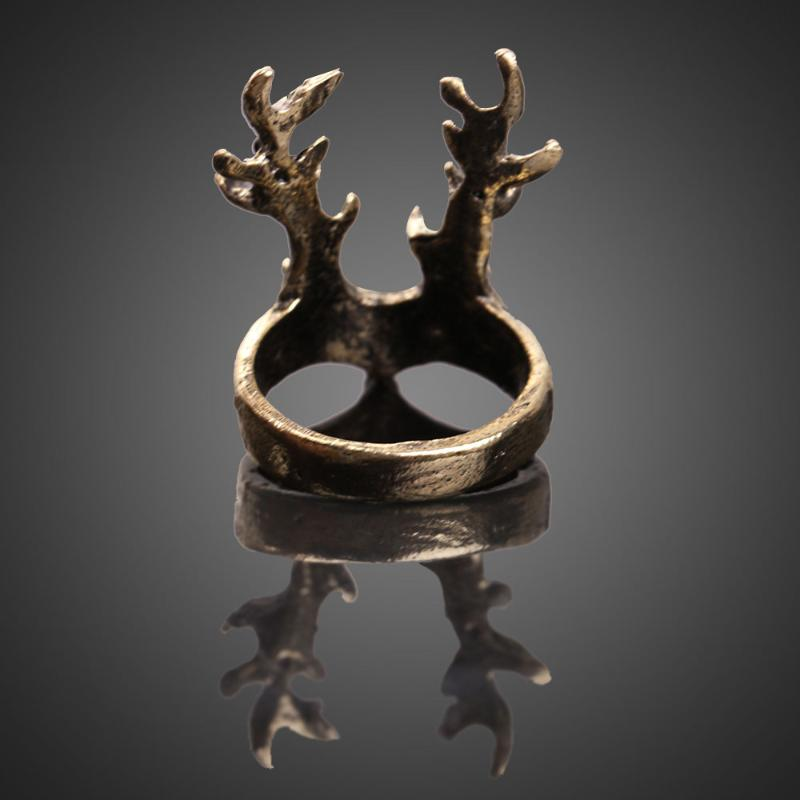 HOT Vintage Deer Ring Retro Punk Women Palace Deer Index Finger cuff Rings Unique Design Halloween Accessories in Rings from Jewelry Accessories