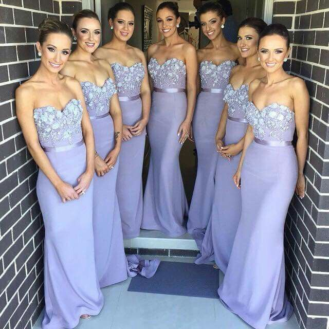 Light Purple Mermaid   Bridesmaid     Dresses   Lace Appliques 2016 vestidos Sweetheart Formal Gowns for Wedding Party