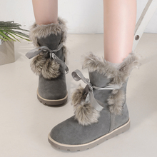 New Top Quality Women Snow Boots Natural Fur Warm Winter Boots Women's Fashion Ankle Boots Women Boots 100% Wool Inside YZ06