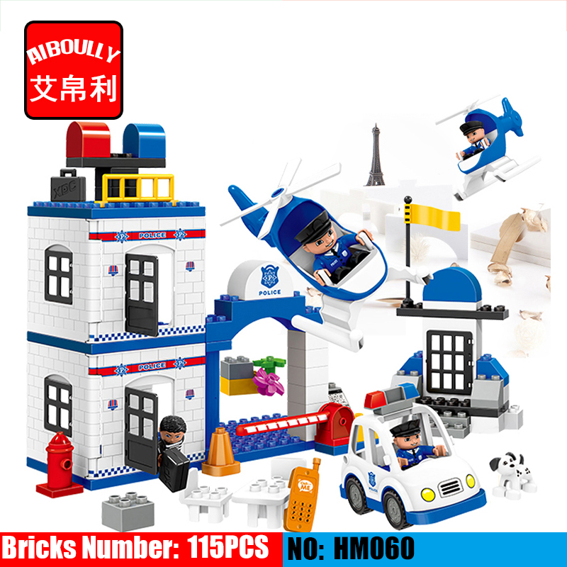 AIBOULLY HM060 115pcs City Police Station Big Large Particle Building Block Toys for Children compatible duploe Baby Gifts large particle city supermarket model