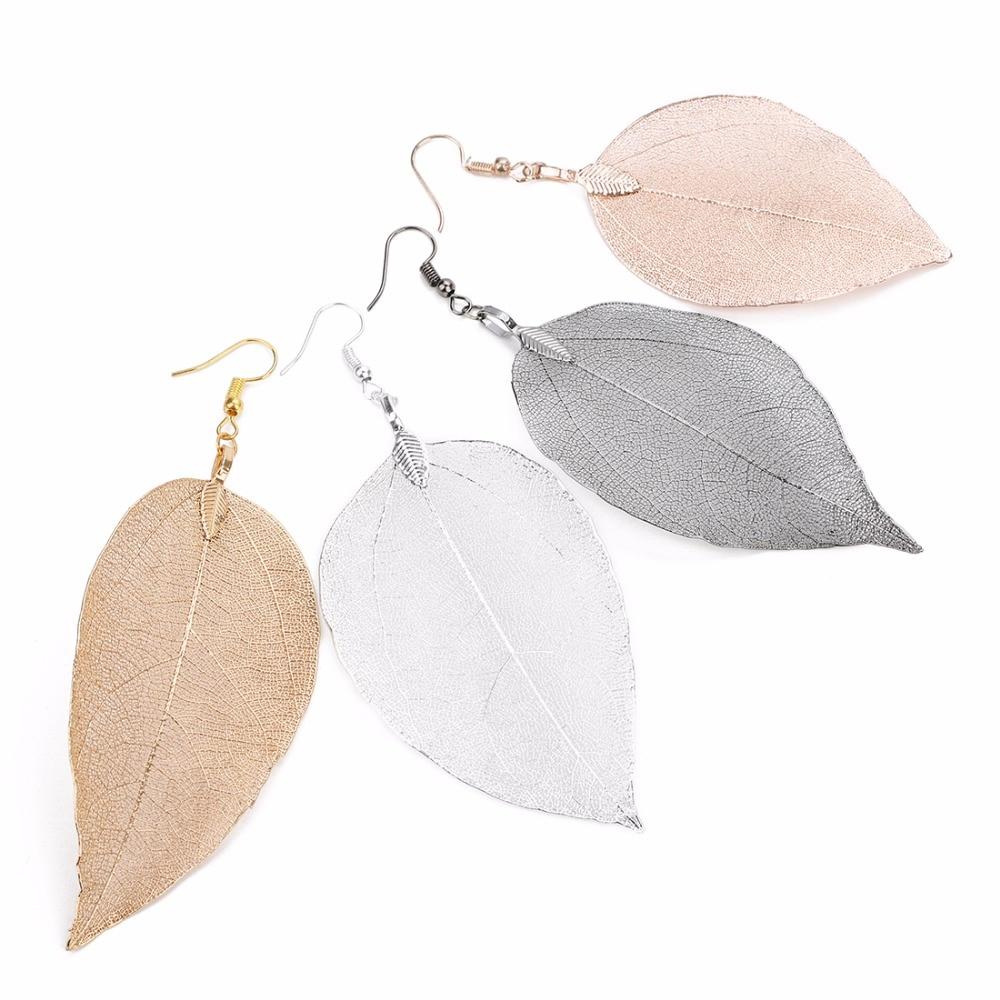 Vintage gümüş kaplama gül altın Metal yapraklar damla küpe uzun büyük bırak bildirimi küpe kadınlar için 2019 yaz Boho takı