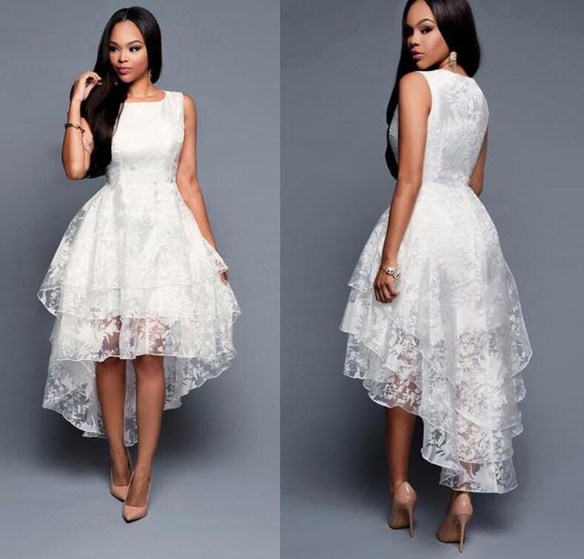 New Fashion High Low Dresses sleeveless Elegant Slim Front short back long Three-tier Vest Dress  White Chirstmas Women Dress
