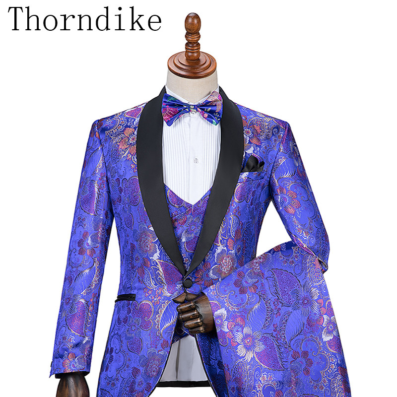 Thorndike Custom Design Purple Blue Flowers Jacquard Suits Men Party Groomsmen Suits in Wedding Tuxedos (Jacket+Pants+Vest)