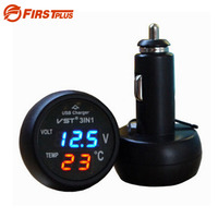 Digital LED Car Voltmeter Thermometer Auto Car USB Charger 12V 24V Temperature Meter Voltmeter Cigarette Lighter