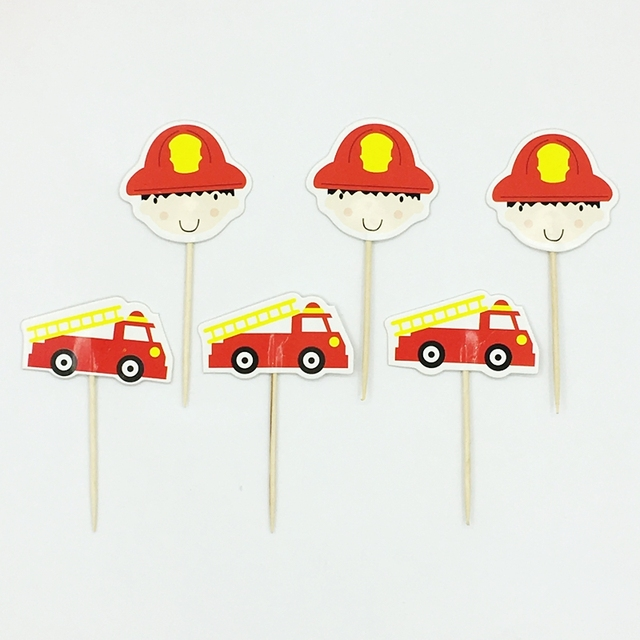 72pcs Cartoon Fire Truck Ladder Car Fireman Cupcake Topper Pick Kids