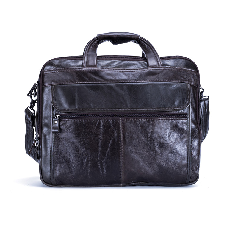 Nesitu Vintage Coffee 100% Guarantee Genuine Leather Men Messenger Bags Men Briefcase 14'' Laptop Bag Cowhide Portfolio #M9912
