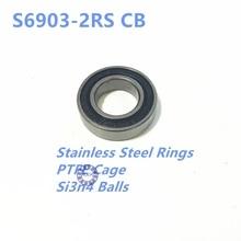 ФОТО 2pcs rubber sealed 440 stainless steel hybrid ceramic ball bearings s6903 6903 2rs 17*30*7mm si3n4 bike part