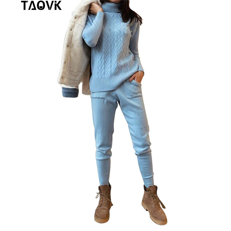 TAOVK female knitted Suits high collar two piece set top and pants womans gymnastics knitting Costume woman two piece outfits