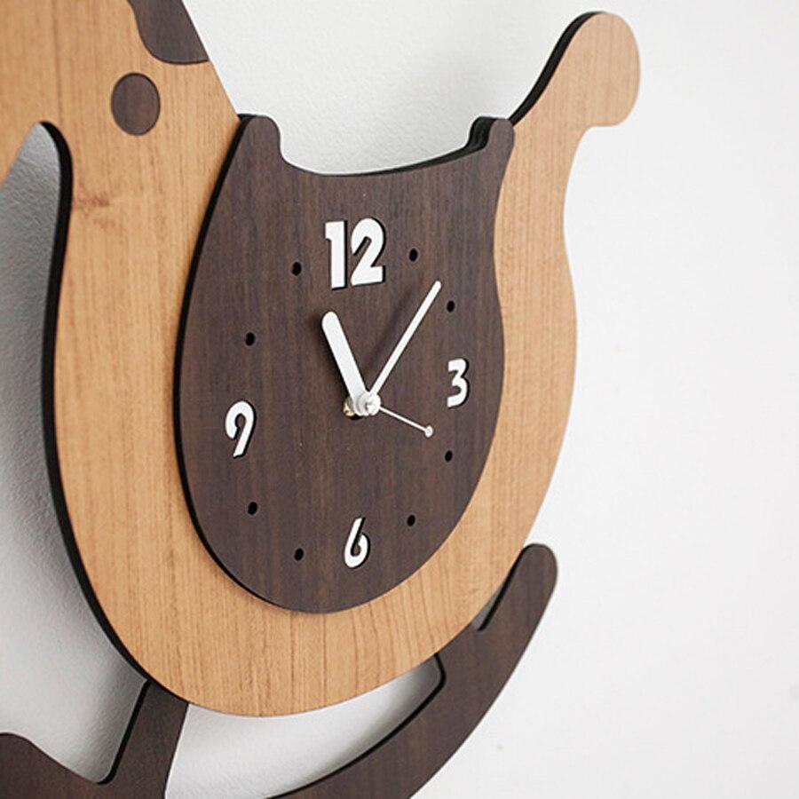 Cute Cartoon Wooden Wall Clock Swing Modern Design Kids Bedroom