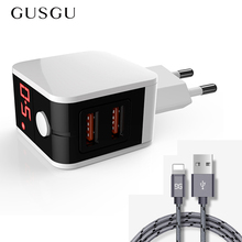 GUSGU EU Plug Travel Dual USB Wall Adapter Charger for iPhone 7 Plus X XS Max 8 6 S 5 5S iPad with Data Sync USB Cable Charging