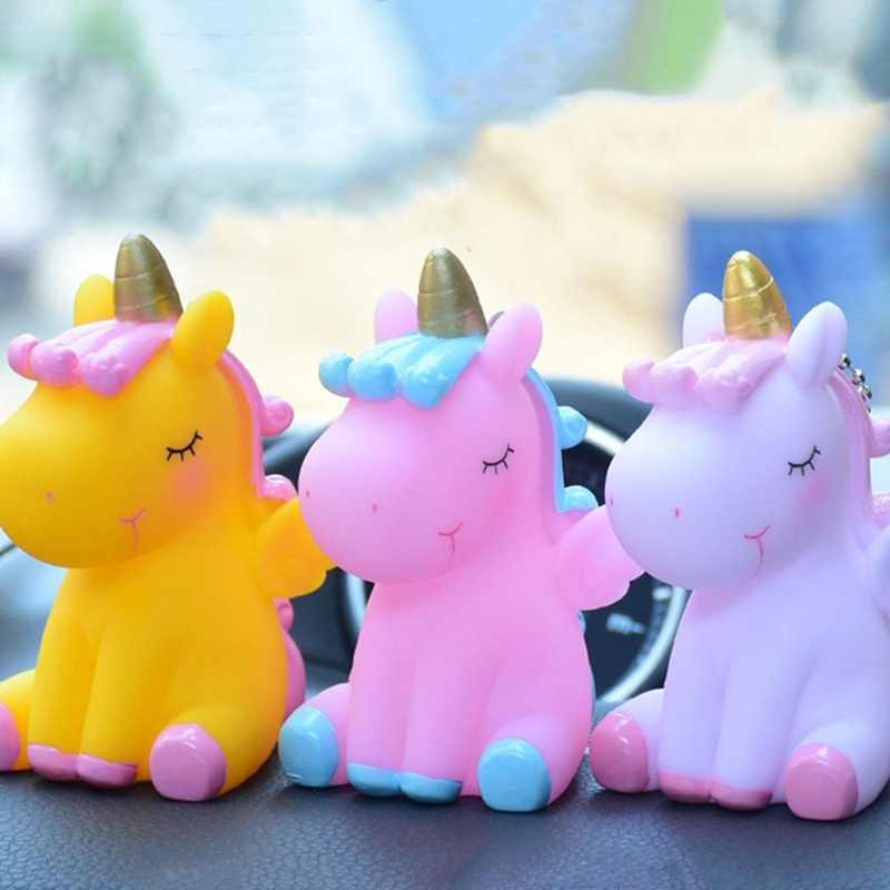Beberapa Gantungan Kunci Mobil Bell Liontin Kecil Unicorn Lucu Tas Hewan Gantungan Kunci Mainan untuk Anak Laki-laki Gadis Hadiah