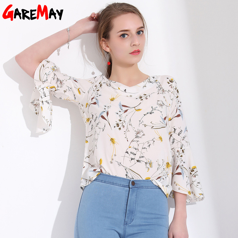 Womens Summer Tops And Blouses Loose Floral Printed Women Chiffon Blouse Shirt Lady Casual Ruffles Long Sleeve Chemise Femme