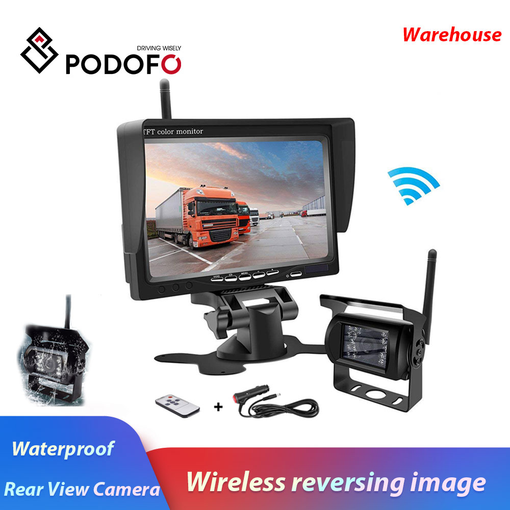 Podofo Wireless Truck Vehicle Car Rear View Backup Camera 7 HD Monitor IR Night Vision Parking
