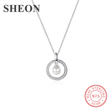 SHEON Authentic 925 sterling silver Zircon Circle Necklaces & Pendants Hanging With Pearl For Women Sterling Silver Jewelry new 925 sterling silver zircon square circle necklaces pendant fashion sterling silver jewelry statement for women bijoux