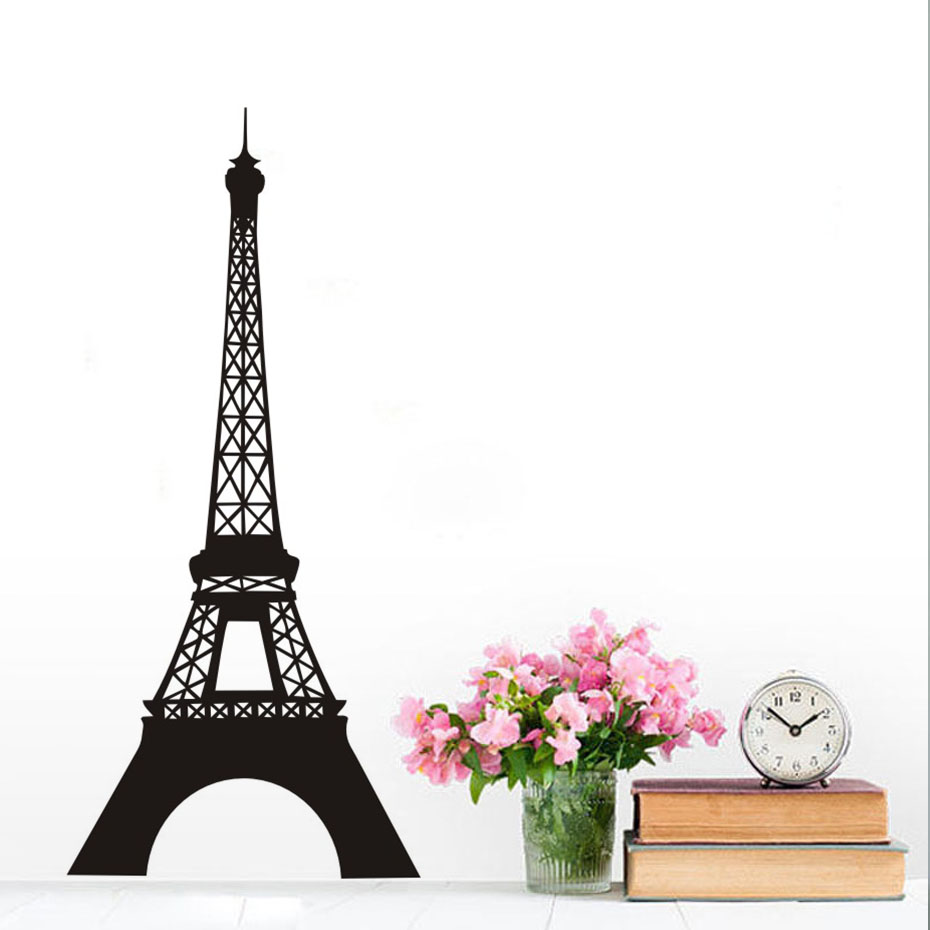 Dctop removable landmark eiffel tower wall sticker paris for Eiffel tower wall mural black and white