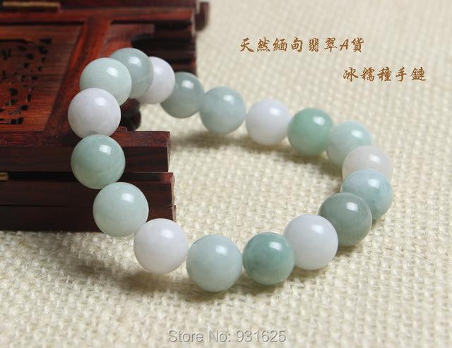 Chinês Grau A Jadeite Natural 12mm Luz Verde Esferas Pulseira Elástica Moda da Menina pulseira mulher jóias de Jade Fina