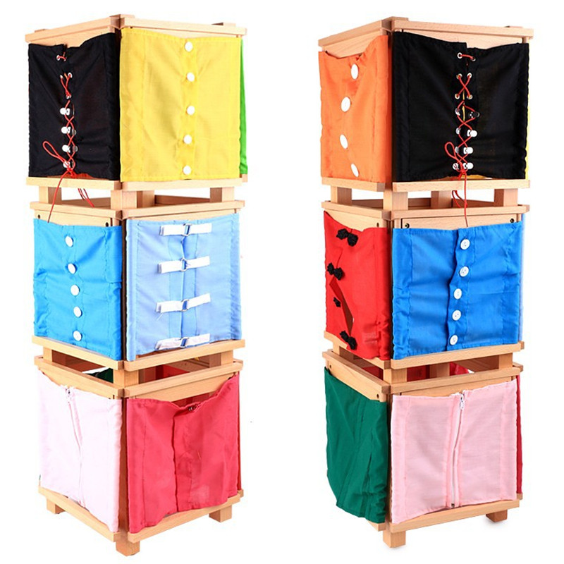 Wooden Practical Life Buttons Dressing Frame Educational Montessori Toys For Children Skill Learning Educational Toys