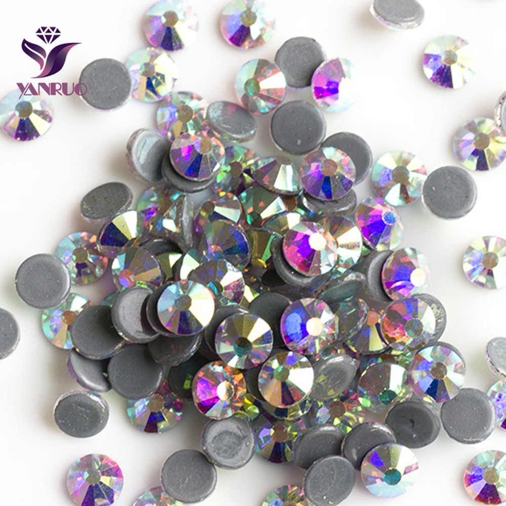 689815b107229e YANRUO 2058HF Clear AB Rhinestone Hot fix Strass Hotfix Stones And Crystals  Rhinestone for Clothing Flatback