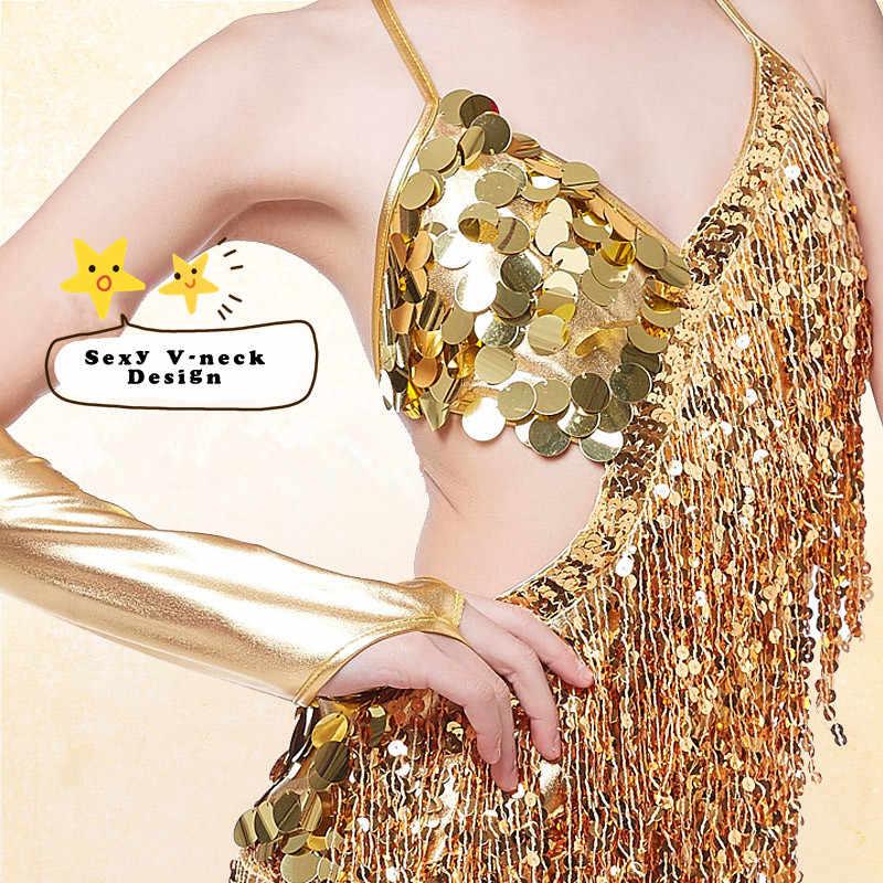 Современное платье для латиноамериканских танцев с золотыми кисточками и блестками для девочек, бальное платье для танцев, танцевальная одежда для девочек, детские танцевальные костюмы