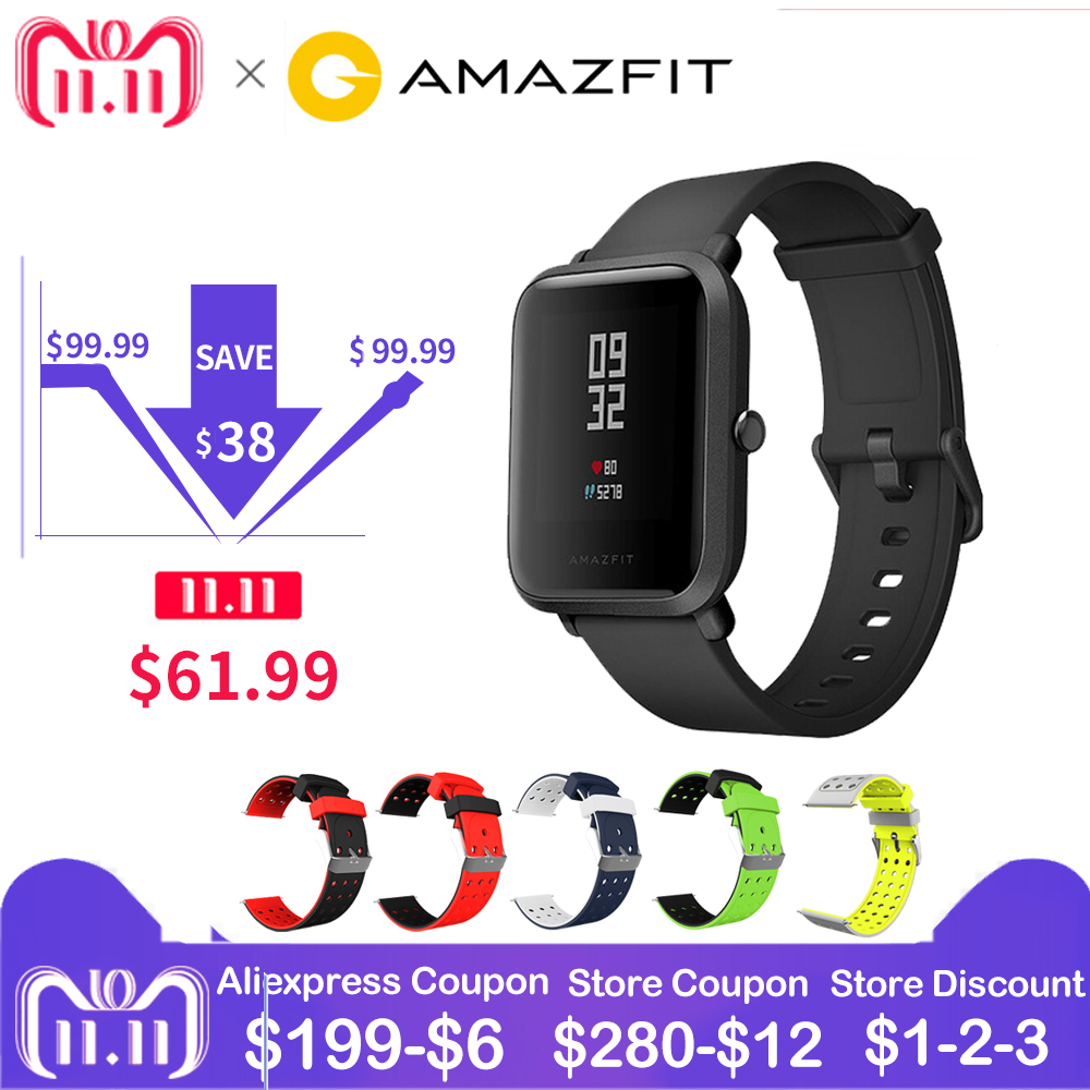 RU Magazzino Globale Versione Xiaomi Huami Amazfit Ritmo Bip PO 'di Sport Intelligente Orologio Bluetooth4.0 GPS Monitor di Frequenza Cardiaca di 45 Giorni standby