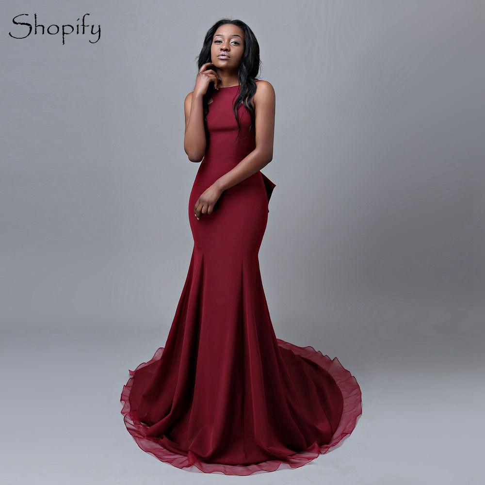 Aliexpress Com Buy Simple Long Prom Dress Mermaid Scoop