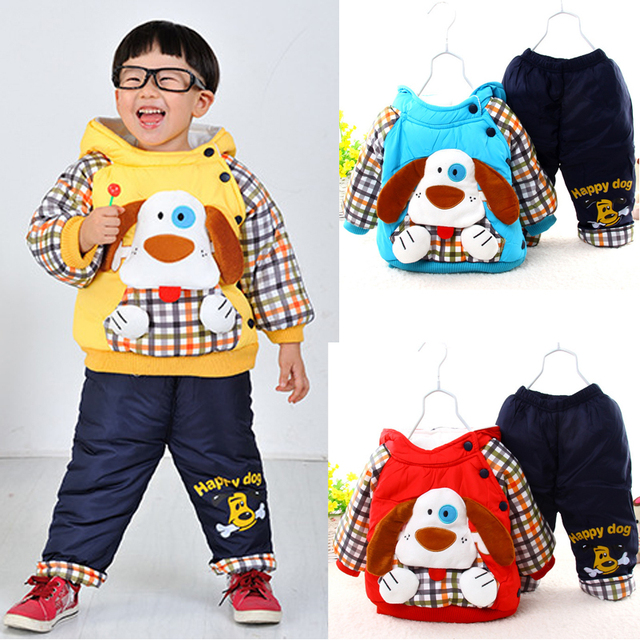 f4ce939d2abc full cotton fleece cartoon dog winter coat pants 2pcs newborn baby ...
