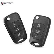 KEYYOU clave Shell 3 botones para Hyundai Elantra Avante I30 I40 I20 IX35 plegable funda para mando a distancia del coche sin cortar en blanco con logo