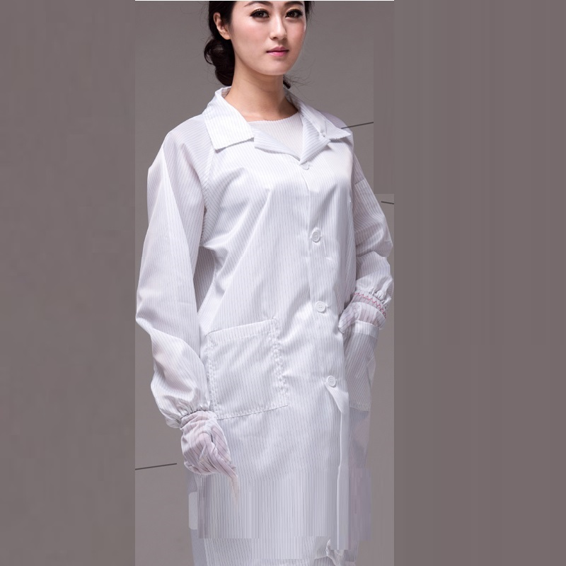 (10pcs- Coat)Anti-static Coat Dust Coat Anti-static Work Clothes Clean Clothes Dusters Lapel Buttons Factory Overalls Uniforms