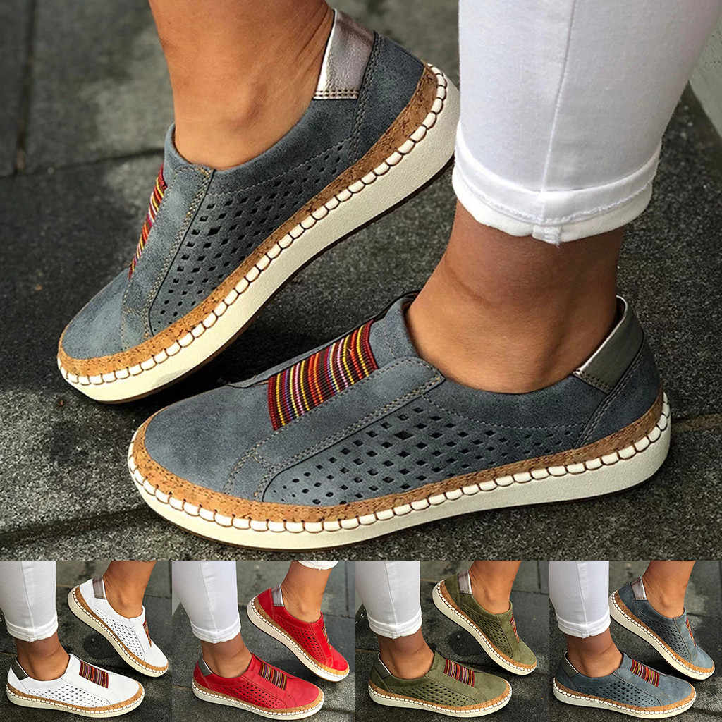 Women's Shoes Fashion Casual Hollow-Out Round Toe Slip On Shoes Flat With Sneakers Female Soft Breathble Summer Shoes C40#