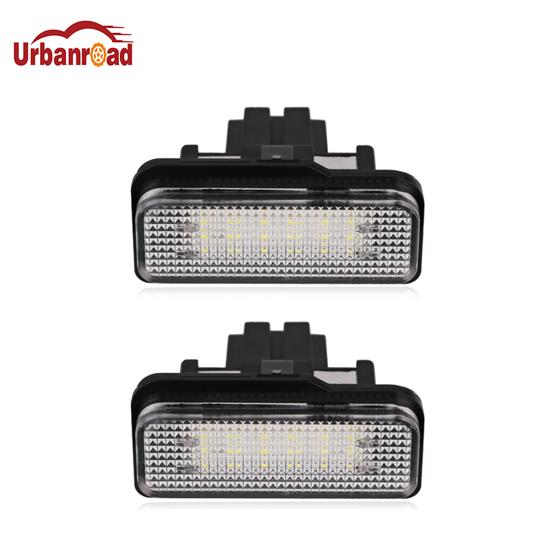 Urbanroad  1Pair 12V LED License Plate Light No Error for Mercedes Benz W203 W211 W219 6000k White SMD Number Plate lamp 2 pcs 18 led smd no error license plate light for benz w203 w211 w219 r171 new t518
