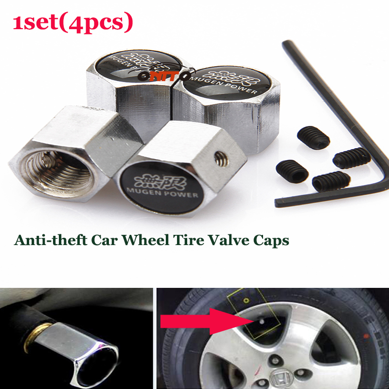 1set Mugenpower car wheel valve stem caps Auto Wheel Tire valve Covers for Buick Dodge cadillac chevrolet fiat seat and so on