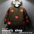 2015 новый осень зима любовь точка волновая картина девушки бархат с капюшоном свободного покроя детей пуловеры костюм 2 ~ 7 лет новорожденных девочек с капюшоном