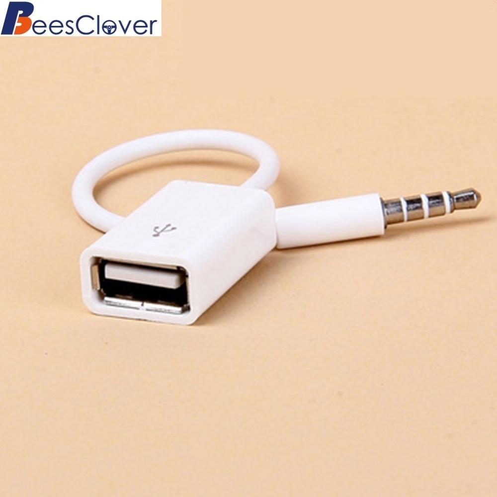 Beesclover Mobil MP3 3.5 Mm MALE AUX Audio Plug Jack untuk USB2.0 Female Converter Kabel Nyaman untuk Suv Penggunaan Sehari-hari scope3.5 AUX title=
