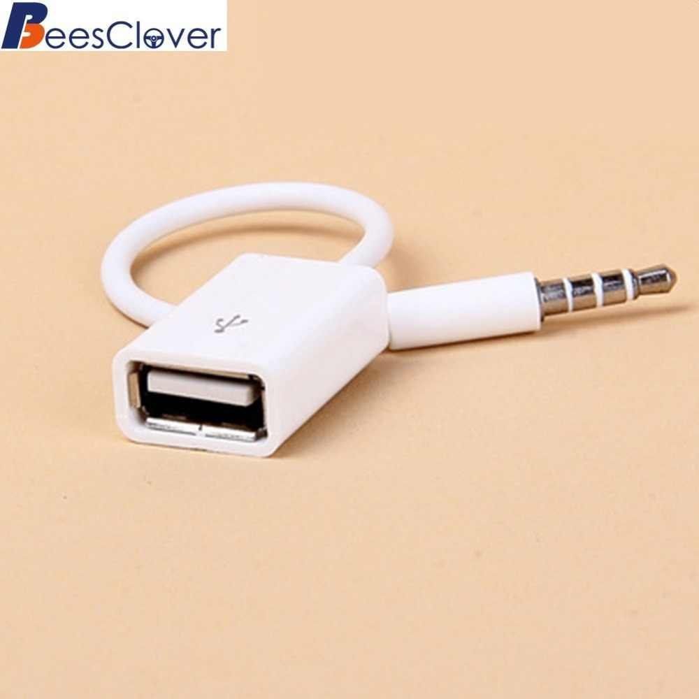 Beesclover Mobil MP3 3.5 Mm MALE AUX Audio Plug Jack untuk USB2.0 Female Converter Kabel Nyaman untuk Suv Penggunaan Sehari-hari scope3.5 AUX