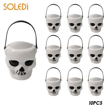10psHalloween Witch Skull Candy Pot Halloween Candy Kettles Witch Cauldron Novelty  Halloween Party Hanging Props  Candy Holder