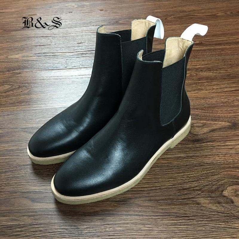 Black& Street High End Luxury Handmade KanyeWest Raw Rubber genuine Leather Black Chelsea Boots denim catwalk Street Martin Boot цена